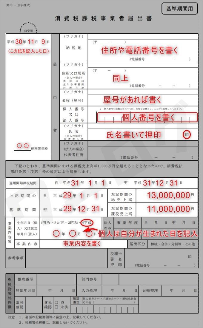 消費 税 の 納税 義務 者 で なくなっ た 旨 の 届出 書 書き方